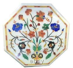 15 Inches Unique Pattern Inlay Patio Table Top Stones Octagonal Coffee Table