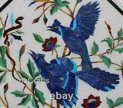 18 Inches Marble Sofa Side Table Pair of Bird Pattern Coffee Table Top for Decor