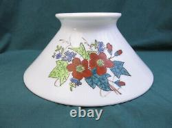 1800's HANGING OIL LAMP SLANT SHADE MILK WHITE GLASS FLORAL PATTERN (BB154A)