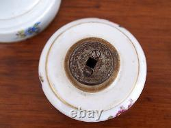 19th c. Meissen Pepper Mill, Hand Painted Floral Pattern, German, Very Rare