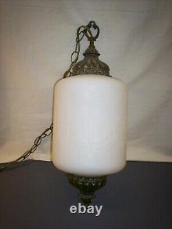 22 White Glass with Floral Pattern Light Fixture Retro Lamp France/USA