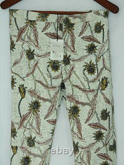$2270 ISABEL MARANT leather White Floral Painted Pattern Pants FR 40 S M NEW