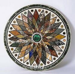 30 Inches White Marble Inlay Table Top with Geometrical Pattern Coffee Table Top