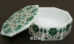 6 x 6 Inches Marble Inlay Box with Floral Pattern Jewelry Box for Wedding Gift