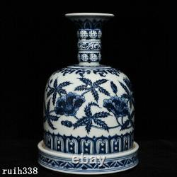 9.4 China Ming Dynasty Blue and white Floral pattern Ringing bell Bottle