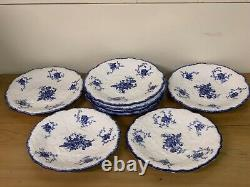 ANTIQUE CHARLES FORD BLUE & WHITE TRANSFER WARE FLORAL 8 x PLATES PATTERN 7553