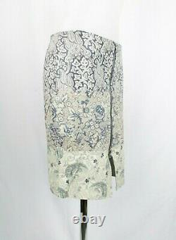 Acne Studios Off-white and Blue Floral Pattern Leather Skirt UK 8 / EU 36 / US 4