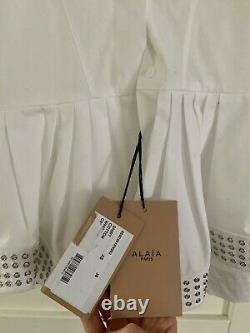 Alaïa White Cotton Shirt With Stud Detail Extra Small With Tags, Never Worn