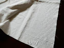 Antique 1800's White cotton Tablecloth or Coverlet Floral pattern 62x 67