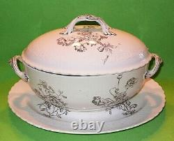 Antique 1800s Minton Floral pattern oval TUREEN with separate under-plate. 15