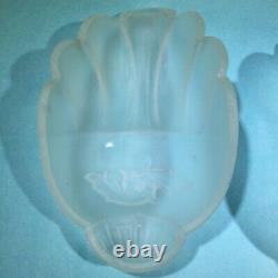 Antique Art Deco White Frosted Floral Pattern Glass Wall Sconce Slip Shade Set
