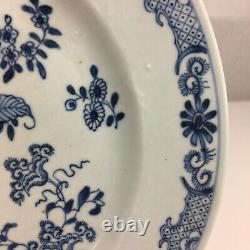 Antique Chinese Blue & White Plate Floral Pattern 18th C Repaired