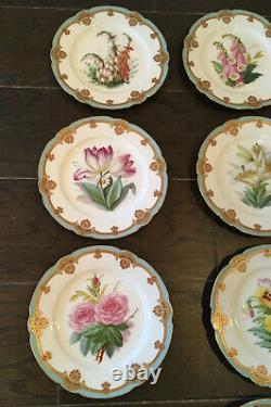 Antique Set Of 10 JULIEN FILS AINE Floral Pattern Hand Painted 9 DESSERT PLATES