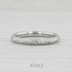 Art Deco Floral Ring 18k White Gold Womens Wedding Band Size 6 Flower Pattern