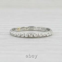 Art Deco Floral Ring 18k White Gold Womens Wedding Band Size 7 Flower Pattern