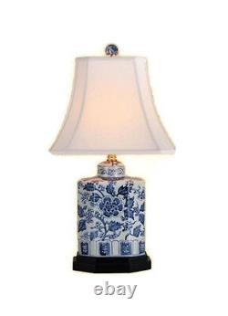 Beautiful Blue and White Floral Pattern Porcelain Tea Caddy Table Lamp 20