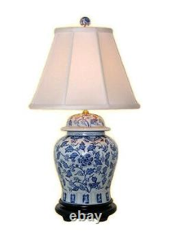 Beautiful Blue and White Porcelain Ginger Jar Table Lamp Floral Patterned 28.5