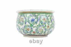 Beautiful White Green and Blue Floral Pattern Round Bowl 5.5