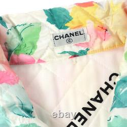 CHANEL CC Zip-up Flower Pattern Long Sleeve Jacket White Pink Polyester AK25324d