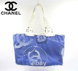 CHANEL Cruise Line Tote Bag Blue & White CC Logo Flower Wave Pattern Canvas Auth