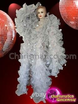CHARISMATICO sexy sequin silver beaded dance diva floral patterned white coat