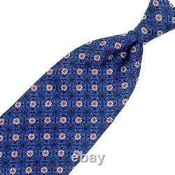 Canali Recent Blue Tie -2 Tone Blue Red White Floral Pattern 100% Silk Italy