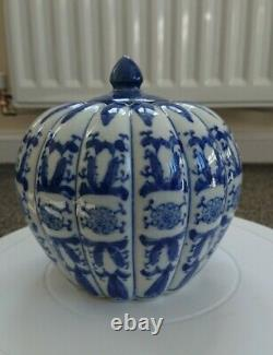 Chinese Blue & White Ginger Jar, Pumpkin Shaped, Floral pattern Approx 1950's
