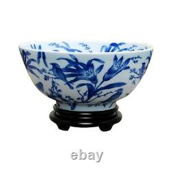 Chinese Blue and White Floral Bird Pattern Porcelain Bowl w Base 14 Diameter