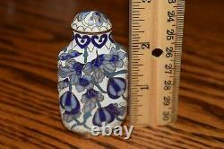 Chinese Exquisite Handmade Floral pattern Cloisonne Snuff Bottle BLUE & WHITE
