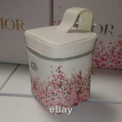 Christian DIOR Floral Pattern Vanity Pouch 2021.6 Month Vanity Pouch White Pink