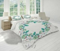 Christmas Wreath Floral Patterns White Duvet Cover Double Bed Single Queen King