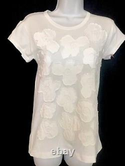 Comme Des Garcons Top White Cotton Floral Design S/sleeve Size Med But Fits Smal