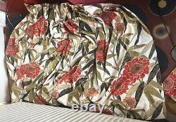 Curtains Sanderson's Pair Of Cotton Large Patterned Padded Lined Floral Curtains