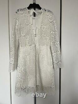 Cynthia Rowley White Lace Floral Pattern Long Sleeve Cocktail Dress, Size 2