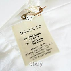 DELPOZO $950 ivory white embossed floral pattern pleat front skirt 36-FR NEW