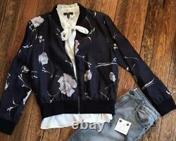 DREW, NWT, Silk Bomber Jacket In Black & Ivory Floral Pattern, Size Large