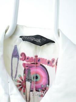 Desigual Womens White Trench Coat Jacket Size M L (40) Pattern of Flowers