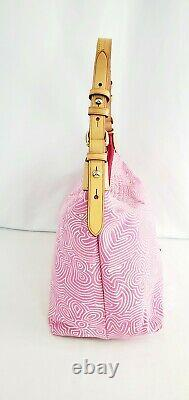 Dooney and Bourke Pink/White Cloth Canvas Pattern Hand Bag Logo Charm Floral
