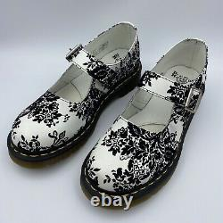 Dr Martens Women Mary Janes White With Black Velvet Floral Pattern US Size 7 New