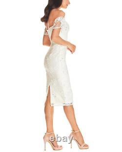 Dress The Population Womens Tara Off The Shoulder Lace Bodycon Dress M White