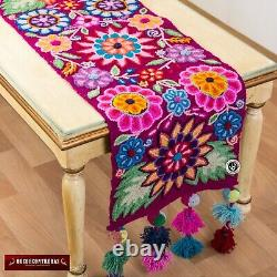 Embroidered Floral table runner patterns, Peruvian wide table Decor, Purple wool