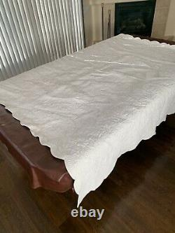 Ethan Allen Queen Classic All White Quilt Floral Pattern Stitched Scallop Edge