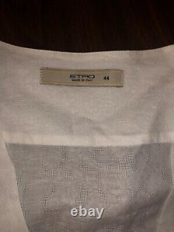 Etro white wrap blouse with floral pattern on the fabric. Sz 44, US M