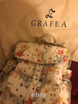 GRAFEA Leather Backpack White Flower Beautiful Spring Summer Red Yellow ££