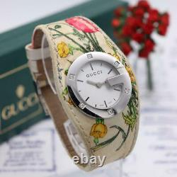 GUCCI 104 Watch Bandeau flora Diamond 6P Floral pattern White 38mm Used 288/SK