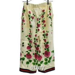 GUCCI 17AW Silk Floral Print Pants Silk Floral Total Pattern Sherry Line Wid