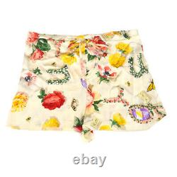 GUCCI Flower Pattern Short Pants Ivory #40 100% Silk Italy Authentic NR13006f