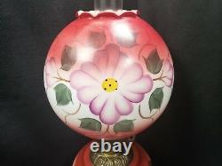 GWTW Electric Table Lamp Floral Pattern Red White