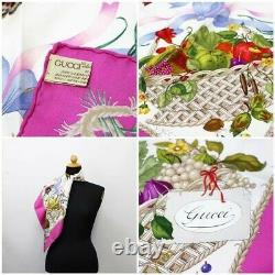 Gucci Silk Scarf Pink White Floral Print Pattern Used Ab Rank Women'S