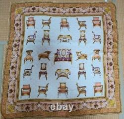 Gucci Vintage Silk Scarf White & Beige Chair pattern 33 inch Tag Rare Excellent